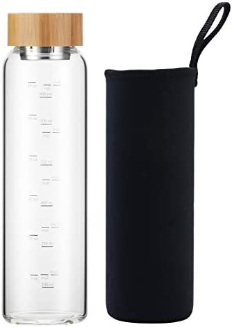 sunkey Glass Water Bottle 32 oz Wide Mouth with Sleeve Bamboo Lid 1 Litre Motivational Water product image