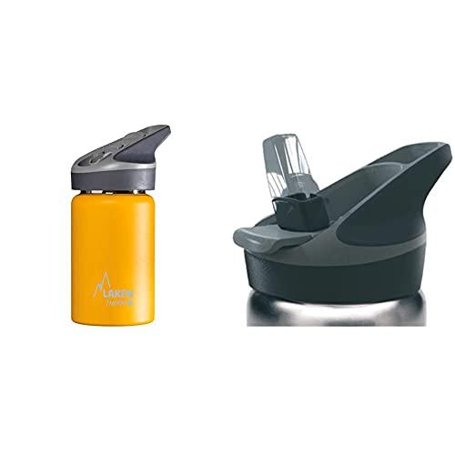 Laken Jannu Botella Térmica Acero Inoxidable 18/8 y Doble Pared de Vacío, Unisex adulto, Amarillo, 350 ml + Tapa, Negro