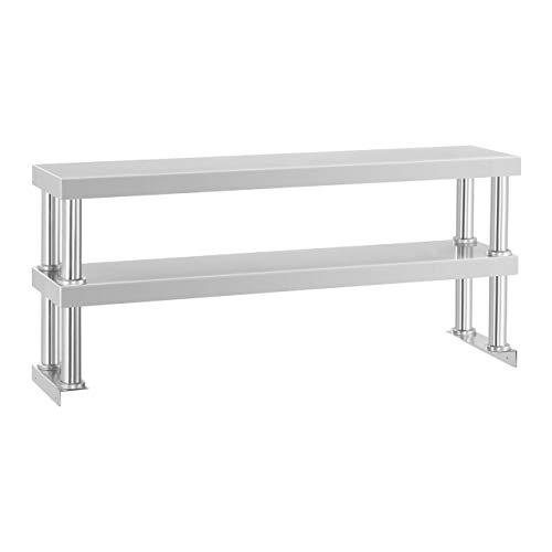 Royal Catering - Aufsatzboard Arbeitstisch (120 x 26 x 600 cm, 2 Ablagen, 2 x 15 kg Tragkraft, Edelstahl) Silber