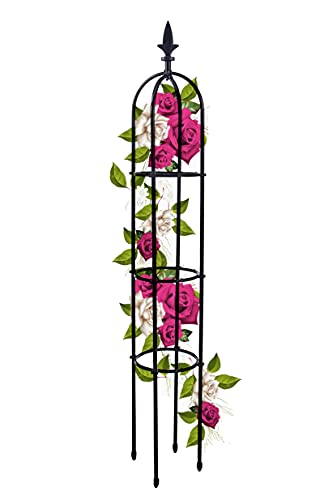 Garden Tower Obelisk Trellis for Climbing Plants - Rustproof Plastic Coated Metal Plant Support - 1.76m Tall Plant Support, Tomatoes, Vegetables, Fruits, Flowers, Pots, Vines Stands (1, Black)