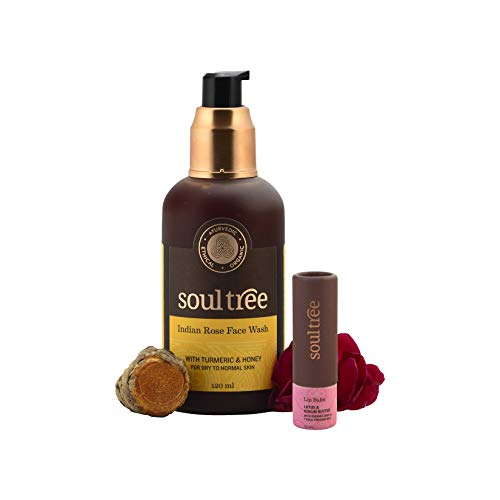SOULTREE Indian Rose Face Wash (120 Ml) with Lotus and Kokum Butter Lip Balm (3.5 Gram) - Combo Set