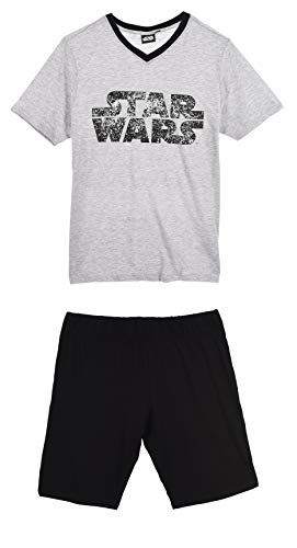Star Wars Herren Kurz Pyjama Schlafanzug, hellgrau/schwarz, M