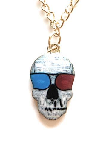 Selia Halskette aus Messing mit Totenkopf Schädel Anhänger Schmuck mit Skull mit Sonnenbrille ideal für Dia de los Muertos Trend für Damen & Herren
