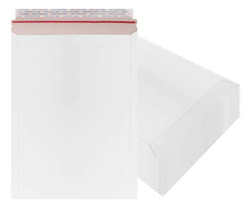 Rigid Mailers 13x18 Paperboard mailers 13 x 18 by Amiff. Pack of 10 white photo mailers. Stay Flat mailers. No bend, Self sealing. Documents chipboard envelopes. Mailing, shipping, packaging, packing.