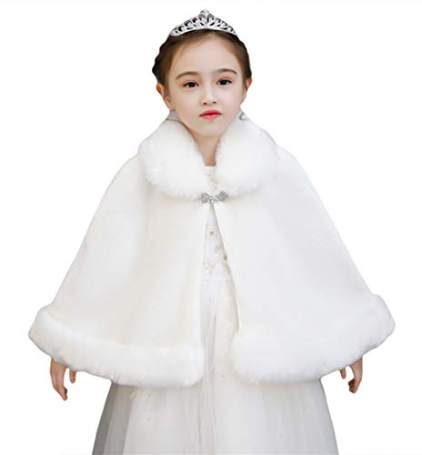 Liveinu Girls Faux Fur Shawl Flower Girl Wraps Cape Princess Wedding Lace Bolero Shrug Dress Coat