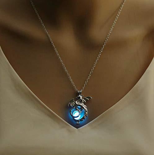 Féeries & Wunders Halskette Drache Blau Silber (phosphoreszierend), Figur Drache