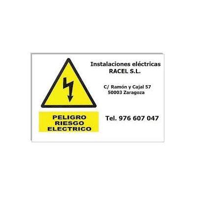 100 Etiquetas riesgo eléctrico personalizadas con los datos de su empresa