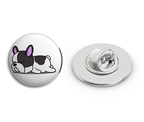 BRK Studio Cute Sleepy Lazy Frenchie French Bulldog Cartoon Round Metal 0.75' Lapel Pin Hat Shirt Pin Tie Tack Pinback