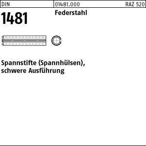 DIN 1481 Federstahl Spannstifte (Spannhülsen), schwere Ausführung - Abmessung: 7x16 (100 Stück)