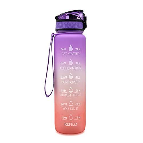 WEIXINMWP 1 Unidad de Botella de Agua con Fecha de gradiente para Deportes, Botella de Agua con Sello de Tiempo, Viaje al Aire Libre, Camping, Bebida de plástico,4,1000ML