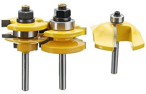 Aoher 3pcs 1/4 Inch Shank Ogee Rail and Stile Ogee Raised Panel Router Bit Set