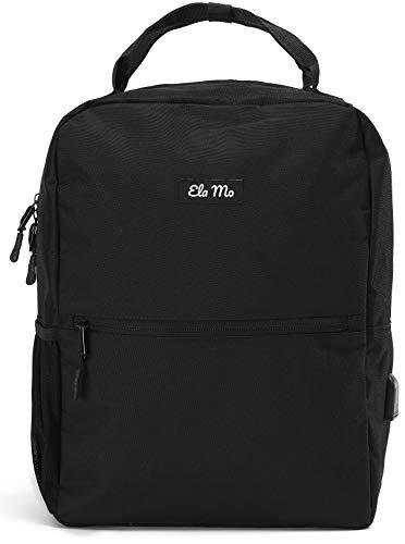Ela Mo's Kleiner Rucksack Damen | Schön, Komfortabel und Durchdacht | für Arbeit Reisen Uni Schule | mit Laptopfach & Anti Diebstahl Tasche | Schwarz