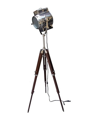 Photography Studio Floor Lamp Searchlight with Brown Wooden Tripod Stand by NauticalMart