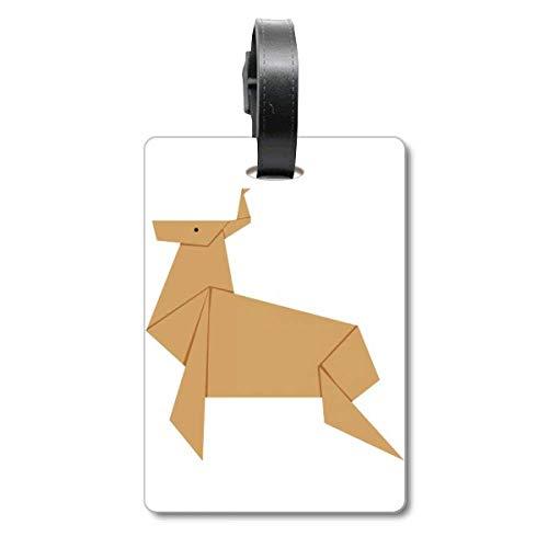 Etiqueta de identificación de Ciervo de Navidad Abstracto con patrón de Origami para Maleta de Crucero