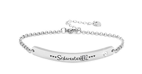 Silvity Damen Gravur-Armband Edenlstahl veredelt mit einem Swarovski¨ Kristall 16,5 cm bis 20,5 cm Frabe: Silber (Motiv: