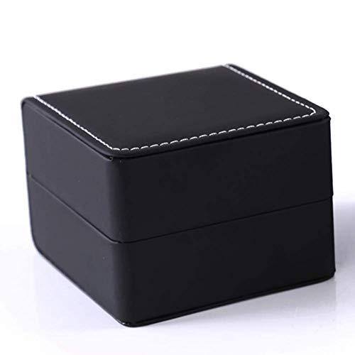 Teensery Single Slot Watch Box PU Leather Wristwatch Display Case Portable Organizer for Men Women Traveling Gift Bracelet Watch Jewelry Box,Black