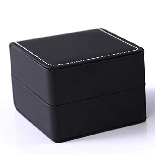 Teensery Single Slot Watch Box PU Leather Wristwatch Display Case Portable Organizer for Men Women Traveling Gift Bracelet Watch Jewelry Box,Black