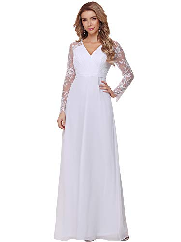 Simple a Line Wedding Dress Off the Shoulder With Chiffon Sleeves Chiffon Draping in the Back