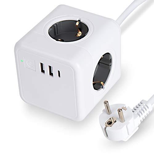 Steckdosenleiste mit USB, Mehrfachsteckdose Cube überspannungsschutz 4 Fach mit 2 USB (15.5W) Steckdosen 1 Typ-C Steckverbinder mit Schalter für Büro, zu Hause oder auf Reisen 1.5m Kabel