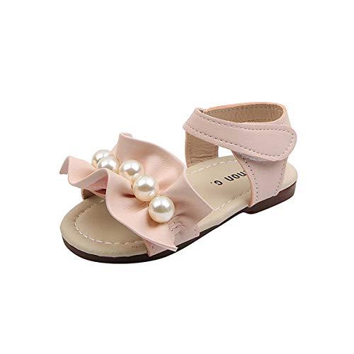 JOEupin Sandalias de dedo del pie abierto para niños pequeños con purpurina de flor para niñas, color Rosa, talla 21 EU