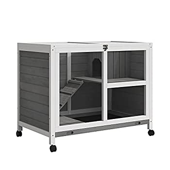 PawHut 2-Story Large Wooden Rabbit Hutch Pet House Bunny Cage Small Animal Habitat with Dropping Tray Ramps Lockable Doors Large Run Area for Indoor Use Grey