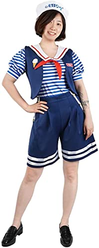 Cosplay Costume for Robin Buckley Ice Cream Seller Clothes Sets Women Stripe Summer Casual Blue S-L (L)