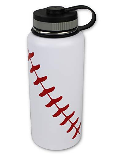 Urbanifi Water Bottle Baseball Softball 32 oz Gift for Mom Men Kids Flask Sports Travel Waterbottle, Stainless Steel, Vacuum Insulated Tumbler, Keeps Water Cold for 24, Hot for 12 Hours (Baseball)