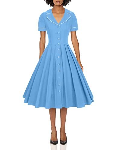 GownTown Women's 1950s Vintage Short Sleeves Notch Lapel Swing Dress