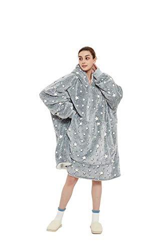 iHallo Damen Winter Warme XXL Hoddie Decke Kuschelig Kauptzenpullover mit Lechte Sternen Kälteschultz Übergröße Grau