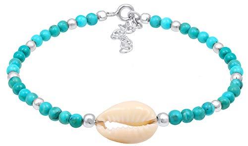 Nenalina Damen-Armband aus 3mm Türkis Perlen mit Kauri Muschel und echten 925 Sterling Silber Kugeln, handgefertigtes Edelstein-Armband für Frauen, Länge 16 cm
