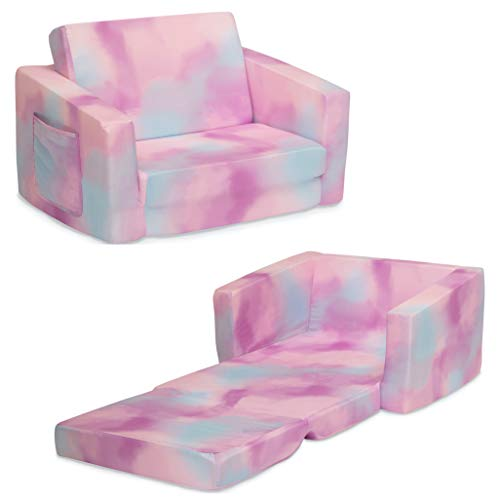 Delta Children Cozee Flip-Out Chair - 2-in-1 Convertible Chair to Lounger for Kids, Pink Tie Dye