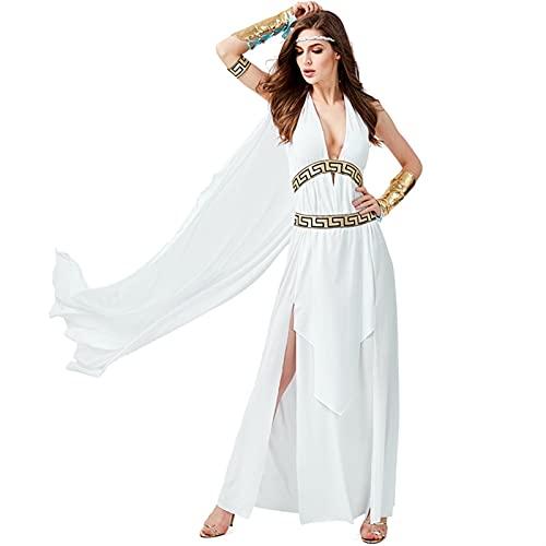 Frauen Griechisch Römische Göttin Kostüm, Sexy Halfter Backless Robe Cosplay Halloween Karneval Party Fancy White Dress Kostüm (Color : Blanc, Size : M)