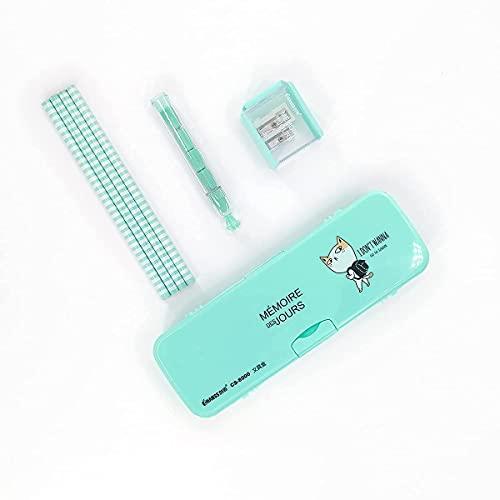 Chanss 筆箱セット ぐばこ ギフトセット 4本鉛筆 1鉛筆 シャープナー 1消しゴム 1本ペンケース 21.7 x 7.5 x 3cm グリーン