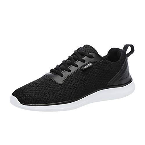 ZHANSANFM Herren Laufschuhe Mesh Atmungsaktiv Straßenlaufschuhe rutschfeste Sneaker Lace up Sportschuhe Stylisch Freizeit Sicherheitsschuhe Gr.39-48(39Schwarz)