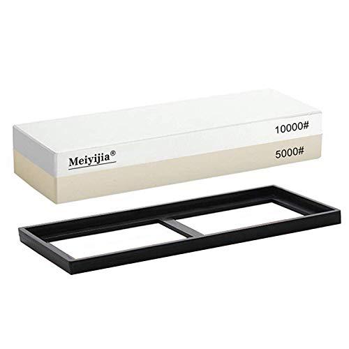 Meiyijia Schleifstein Set, 2-IN-1 Abziehstein Schleifstein für Messer, Körnung 5000/10000 mit rutschfestem Silikonhalter