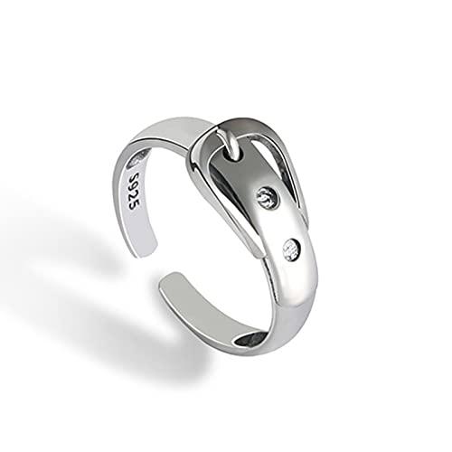 XIANNVQB 925 Silberringe - 925 Sterling Silber Gürtelschnalle Ring Schmuck Für Charme Frauen Mode Persönlichkeit Partei Zubehör Geschenk Fingerring, Wie Gezeigt, Öffnung