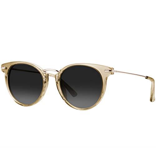 Carfia Gafas de sol polarizadas vintage para mujer Gafas de sol con montura retro de ojo de gato Gafas de protección UV400