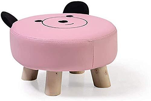 hclshops Taburete redondo para niños, de madera maciza, con 4 patas y funda de PVC, relleno de algodón, color rosa, morado, tamaño: 30,5 x 18 cm