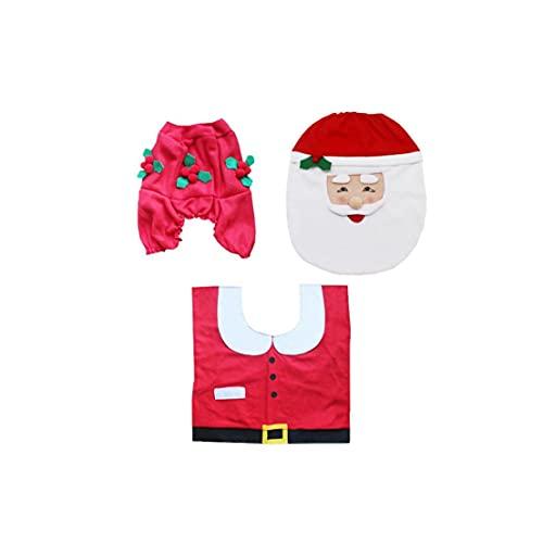 Traje De Cubierta De Inodoro De Navidad Feliz Papá Noel Funda De Asiento Floor Alfombra Y Tapa De Tanque para Baño Decoración Navideña 3pcs / Set