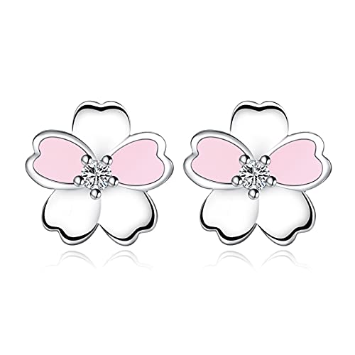 Houren Romántico Pequeño Pastoral Frescular Temperamento Nuevo Popular Estilo Coreano Simple Moda Temperamento Ear Joyería Cristal Claro (Metal Color : Pink White)