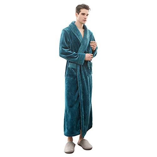JOYKK Unisex Warm flanel winterwafel dik koraal met lange Kimono badjas