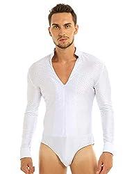 White Shiny Rhinestones Long Sleeve Dance Shirt V-Neck Leotard Bodysuit