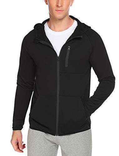 COOFANDY Mens Casual Zip up Hoodie Jacket Double Cotton Lightweight Sweatshirt Black