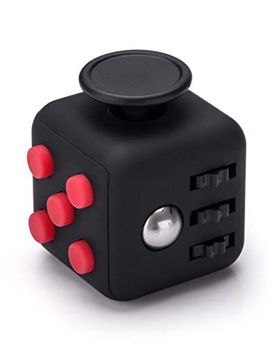VAPIAO Fidget Cube - Anti Stess Würfel - Stresswürfel 'Spielzeug' zum Stressaubbau bei Nervösität für alle Altersklassen in Schwarz Rot