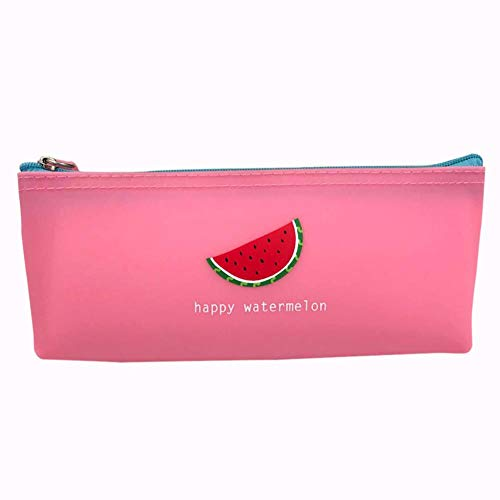 Drawihi Pencil Case Fruit Pattern Solid Color Silicone Zipper Student Pencil Ruler School Stationery Organizer and Storage Bag Pink