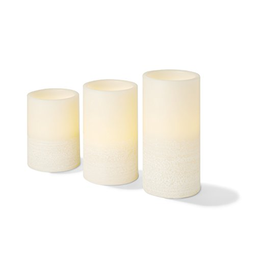 Flameless Candles Set of 3 - Ivory Real Wax, Three Inch Diameter Pillar Candles, Assorted Heights, Warm White Flickering LED, Battery Operated, Remote Control Included
