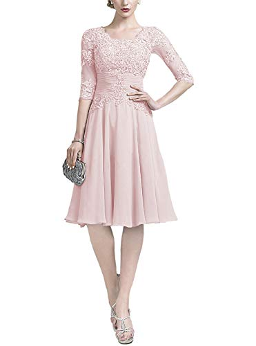Lover Kiss Women's Lace Applique Mother Of The Bride Knee Length Dress With Pleated Waist 10 Light Pink