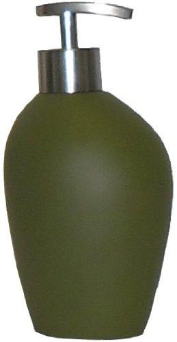 SANWOOD Seifenspender INUIT olivgrün mit Soft-Touch Pumpspender in Edelstahl-Optik