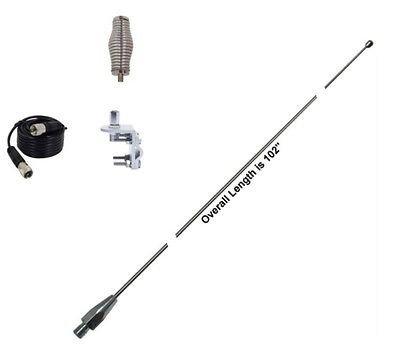 Hustler 102 Inch Whip CB Ham Antenna Stainless Steel - 9ft Coax - Spring & Mount