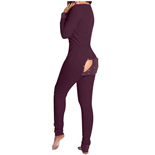 Baratos Pijama Completo de Mujer Tipo Mono Invierno,Sexy Monos de Vestir Mujer,Servicio a Domicilio Monos con Solapa en la Espalda y Botón Trasero,con Cuello en V,Manga Larga (Púrpura, L)